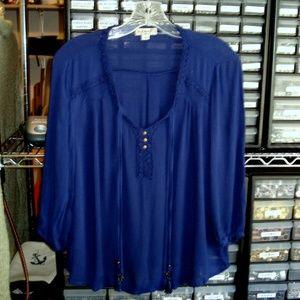 Boho Royal Blue Petite Large Peasant Style Blouse